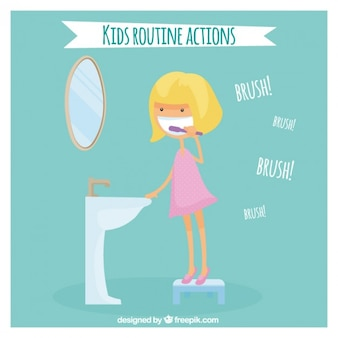 少女彼女の歯を磨きます