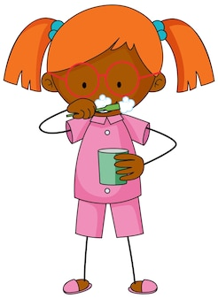 A girl brushing teeth cartoon character