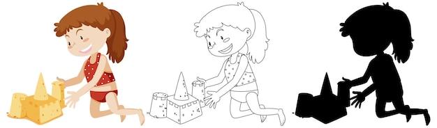 Ragazza che costruisce castelli di sabbia a colori e nei contorni e silhouette