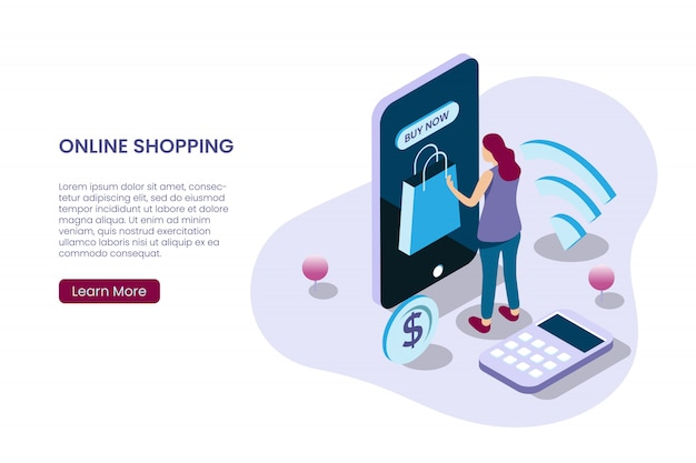 A girl buying online in isometric illustration style