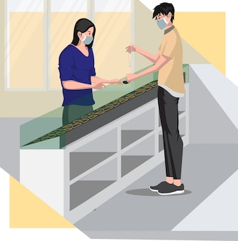 A girl buying silver necklace in jewelry store illustration