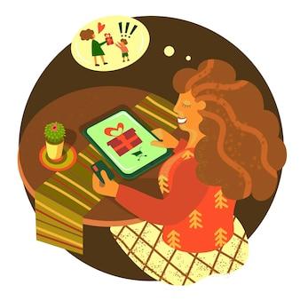 소녀는 새해 크리스마스 거래에 선물 선물을 구입합니다. 벡터 일러스트 레이 션 평면 스타일 온라인 상점