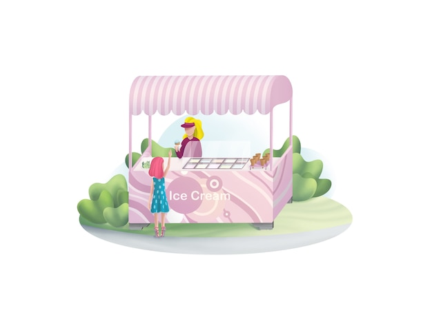 Girl buys ice cream in the park illustration