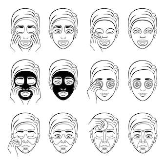 女の子は様々な化粧品で顔をケアし、保護します。