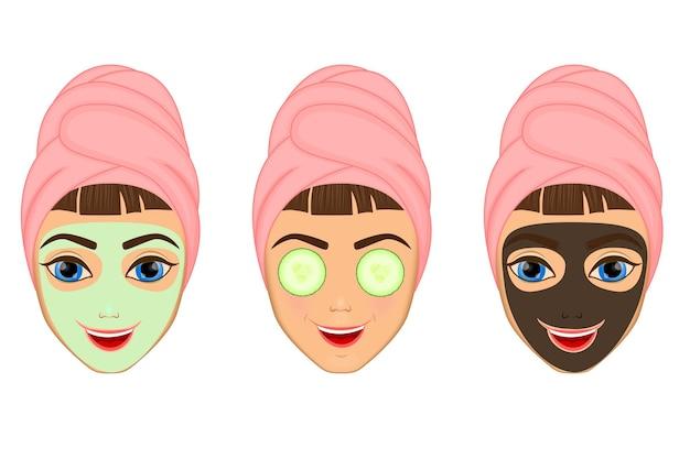 소녀는 다양한 행동, 얼굴, 치료, 미용, 건강, 위생, 생활 방식, 세트, 수건, 검은 마스크, 오이로 얼굴을 돌보고 보호합니다.