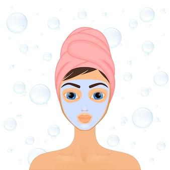 소녀는 다양한 행동, 얼굴, 치료, 미용, 건강, 위생, 생활 방식, 세트, 수건, 마스크로 얼굴을 돌보고 보호합니다.