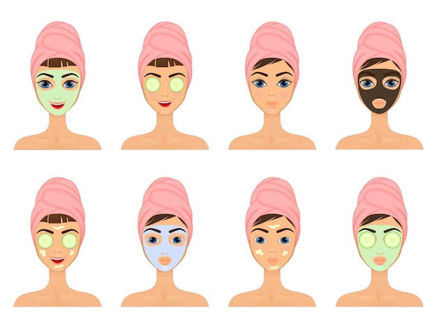 소녀는 다양한 행동, 얼굴, 치료, 미용, 건강,