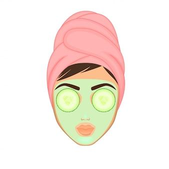 소녀는 다양한 행동, 얼굴, 치료, 아름다움으로 그녀의 얼굴을 돌보고 보호합니다.
