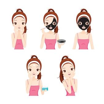 소녀는 다양한 행동 세트로 그녀의 얼굴을 돌보고 보호합니다.