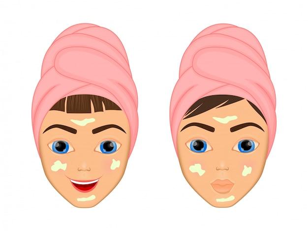 소녀는 다양한 행동으로 그녀의 얼굴을 돌보고 보호합니다.