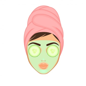 Girl cares and protects her face with various actions, facial, treatment, beauty