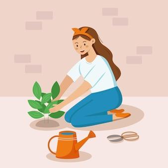 Девушка, ухаживающая за растением