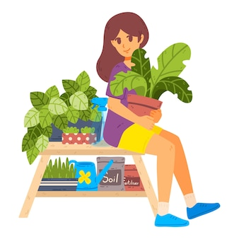 소녀 돌보는 관엽 식물 일상 생활과 젊은 여성의 일상적인 일상 장면