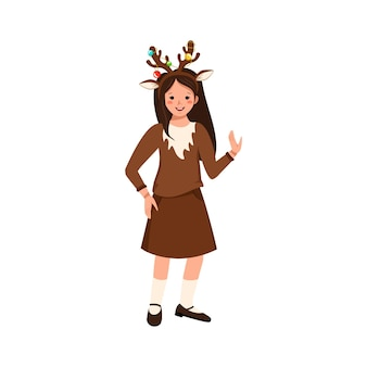 Girl in carnival costume of deer festive clothing for party theatre new year christmas or halloween ...