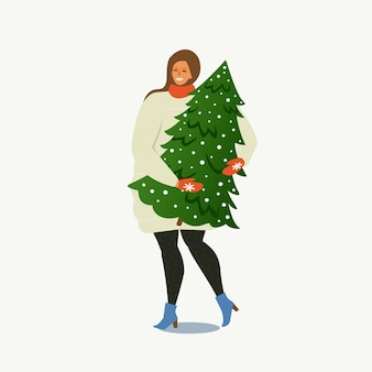 Girl carrying a christmas tree.