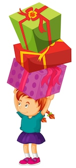 Girl carrying three boxes of presents