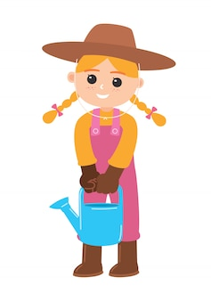 Girl carrying a watering can, vector