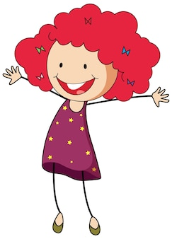 A girl cartoon character in doodle style isolated