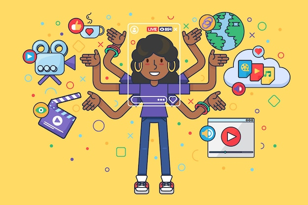 Девушка мультипликационный персонаж делает онлайн-трансляцию
