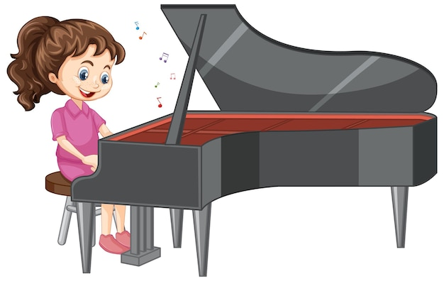 A girl cartoon character playing piano