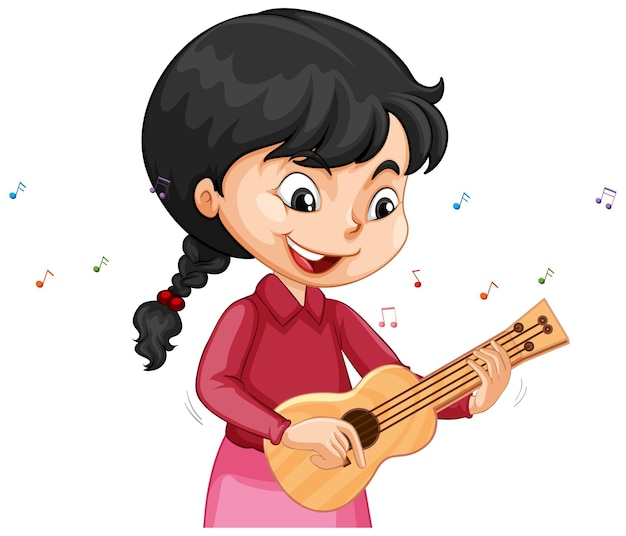 A girl cartoon character playing ukulele