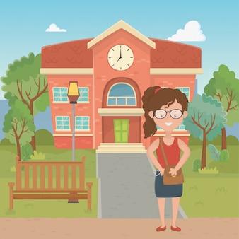 学校デザインの少女漫画