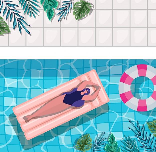 Мультфильм девушка на поплавок в бассейне с листьями дизайн вид сверху, летние каникулы