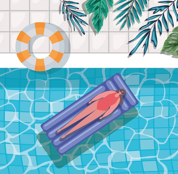 Мультяшная девушка на поплавке в бассейне с листьями, вид сверху, вектор
