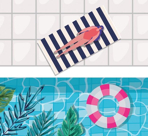 Мультяшная девушка на полотенце у бассейна с листьями, вид сверху, вектор