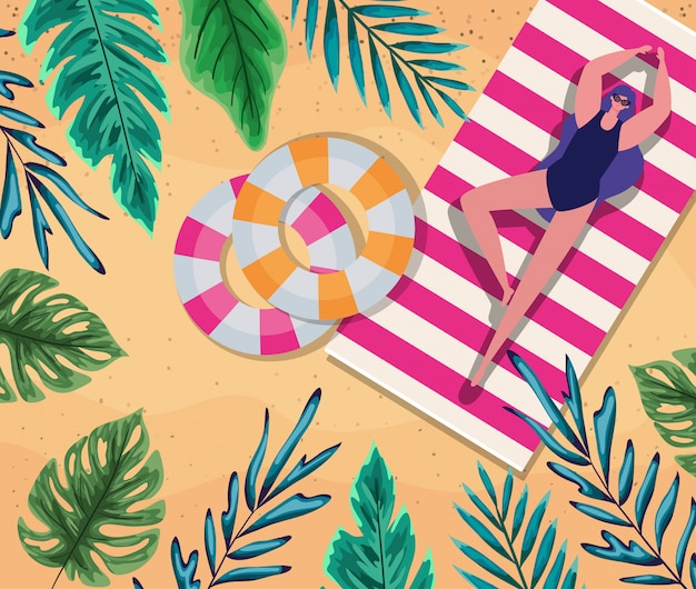 Мультфильм девушка на полотенце с поплавками на пляже вид сверху дизайн, летние каникулы
