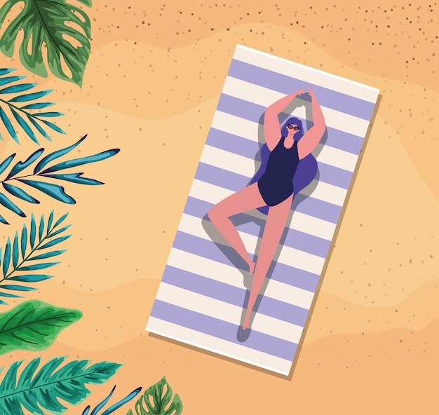 Девушка мультфильм на полотенце с листьями на пляже вид сверху вектор дизайн Premium векторы