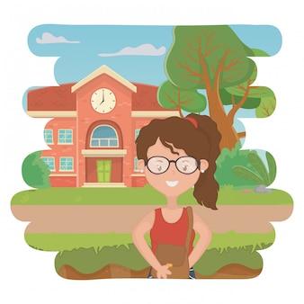 Girl cartoon of school