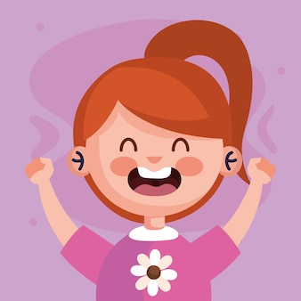 Girl cartoon screaming design, kid childhood little and people theme  illustration