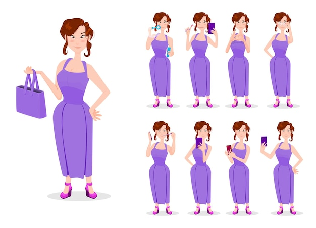 Girl cartoon style character in different poses with phones in hands.
