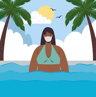 Мультяшная девушка с бикини и медицинской маской на морском векторе