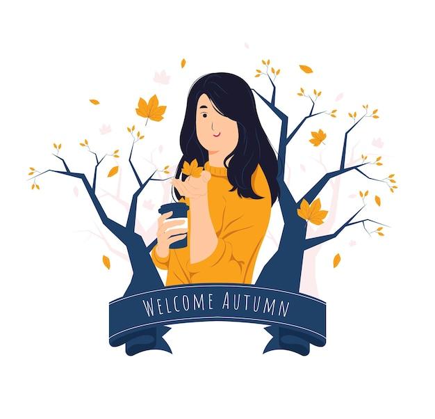 가을 날 개념 그림에 낙엽을 잡는 소녀