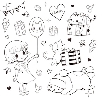 Girl, cats and present doodle set