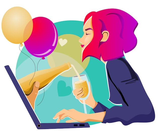 Girl celebrates a holiday online, drinks champagne, surrounded by balls