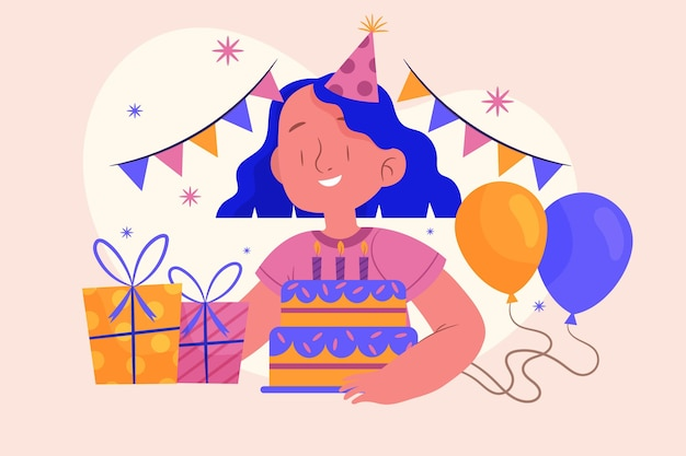 Girl celebrating her birthday illustrated