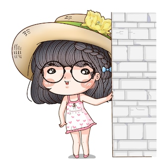 女の子のキャラクターが壁を振る