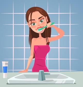 Девушка персонаж чистит зубы. векторная иллюстрация плоский мультфильм