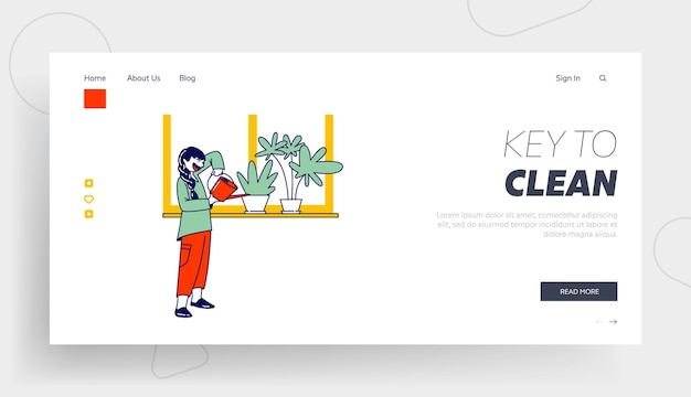 Girl character care of domestic flower in pot landing page template.