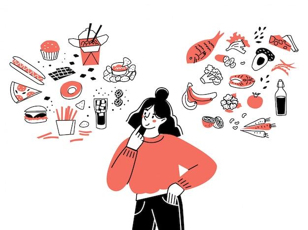 女の子のキャラクターは、健康的な食べ物と不健康な食べ物の間で選択します。ファーストフードとバランスの取れたメニューの比較。健康的な食事のコンセプトです。