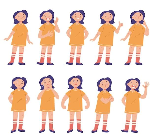 女の子のキャラクターの顔の感情の孤立したセット