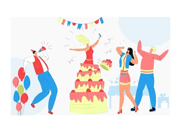 Девушка-персонаж прыгает из торта, люди веселые время проводят вместе