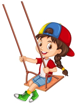 A girl character sitting on wooden swing