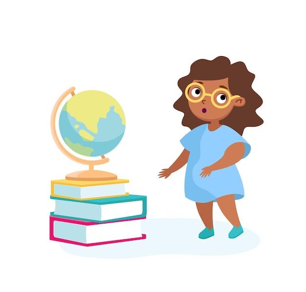 Девушка-персонаж стоит у стопки книг с глобусом наверху