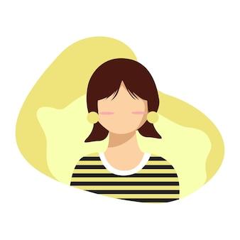 줄무늬 셔츠를 입은 소녀 캐릭터