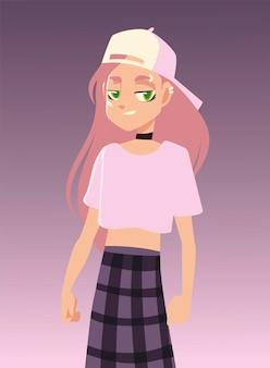 Девушка-персонаж в модной одежде, иллюстрация молодежной культуры