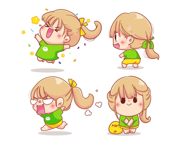 Girl character with various emotions cartoon set illustration